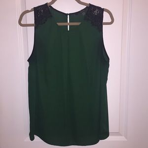 Dark Green Top with Black Lace Detail - Size Large